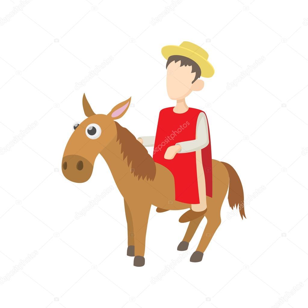 Hombre montando un icono de burro, estilo de dibujos animados ...