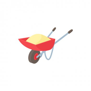 Wheelbarrow icon in cartoon style