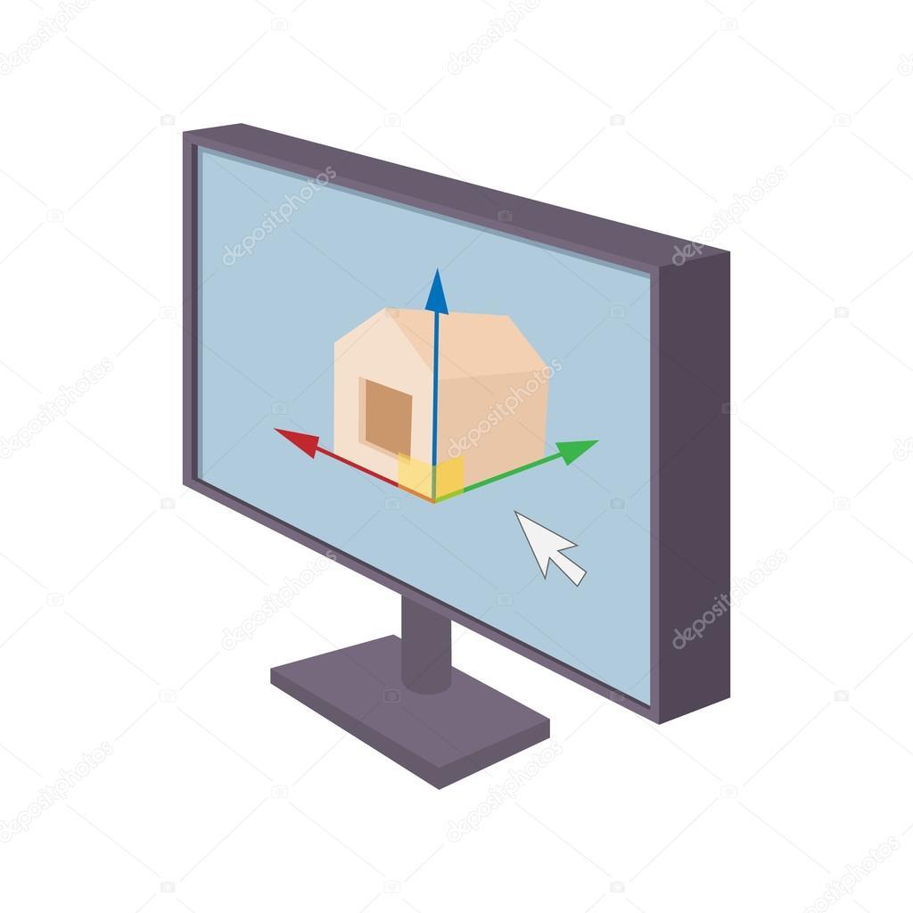 Monitor del computer con l 39 icona del programma di for Programma architettura gratis