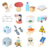 Uprchlíci ikony set, kreslený styl