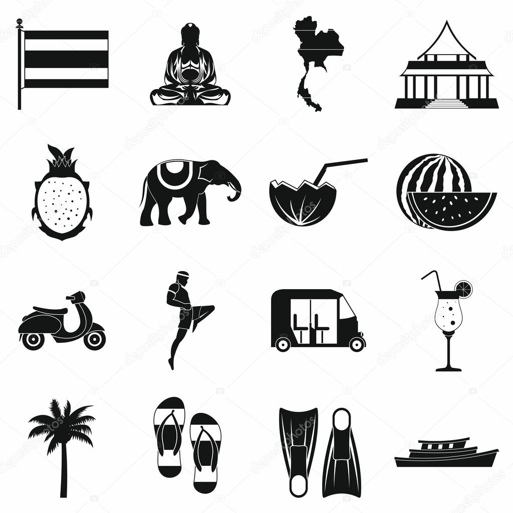 Thailand icons set, simple style