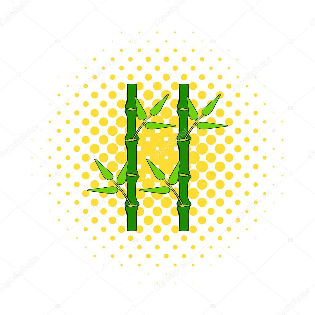 Gruner Bambus Vorbau Symbol Im Comic Stil Stockvektor