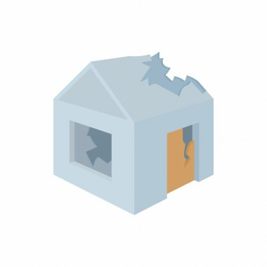 Destroyed house icon in cartoon style