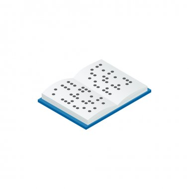 Book written in Braille icon, isometric 3d style