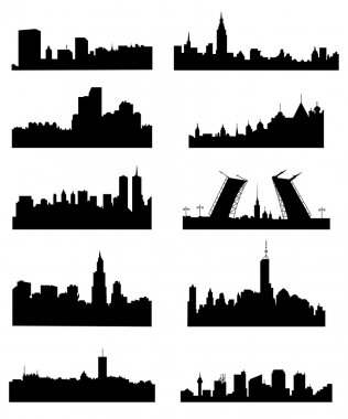 City silhouette set