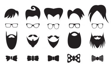 Hipster elements silhouette set