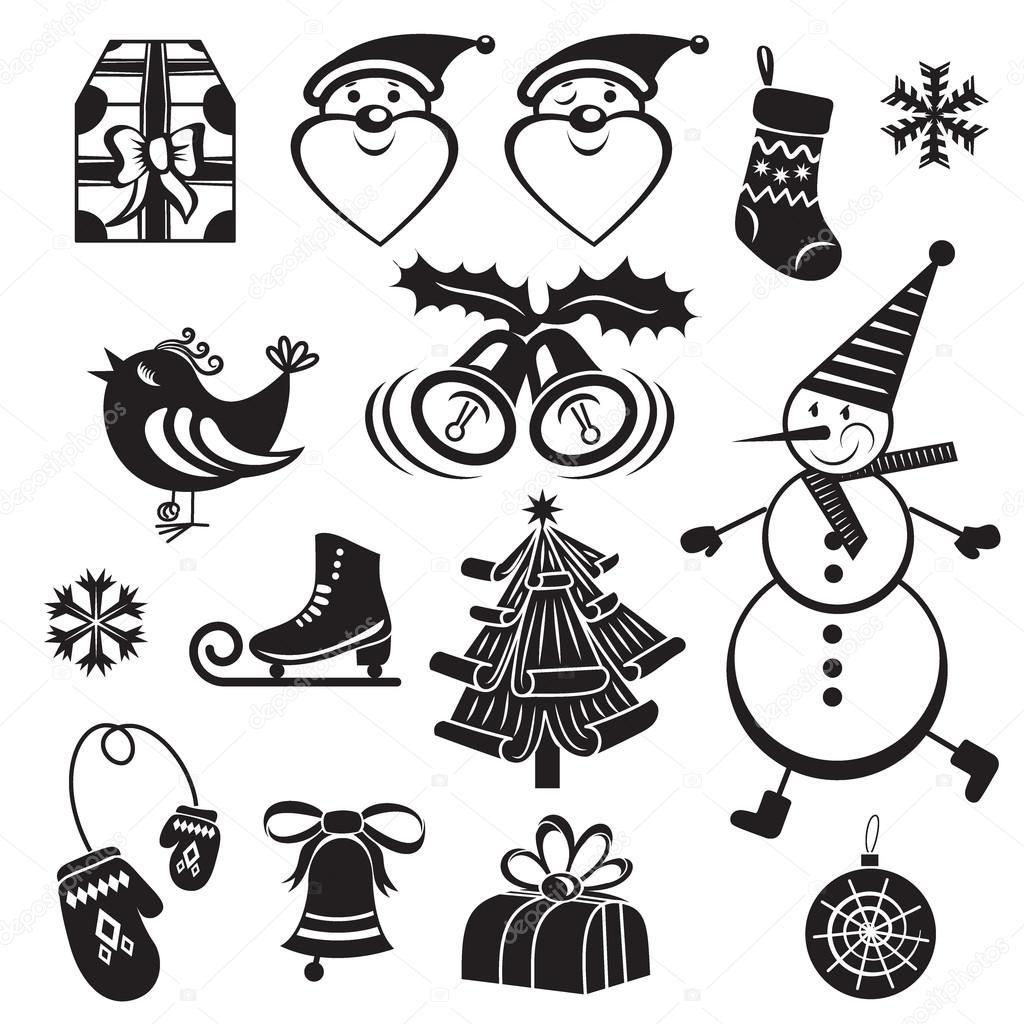 メリー クリスマスのモノクロ イラスト セットします ストック