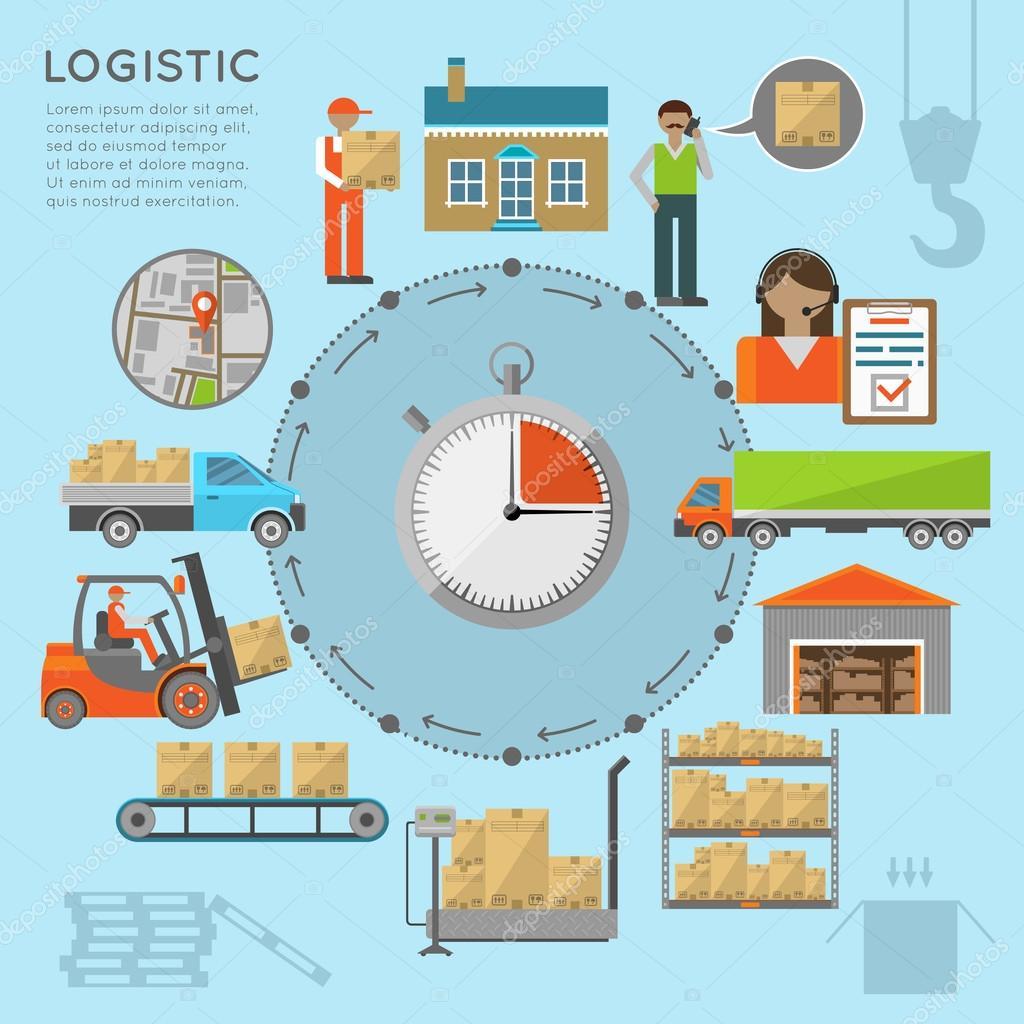 Warehouse transportation infografics