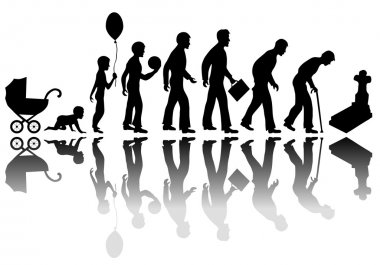 Time passing man concept. Illustration of life from birth to death clip art vector
