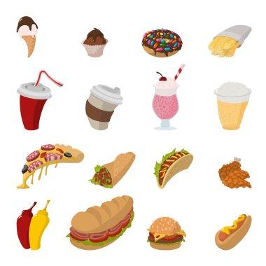 Fast food cartoon icons