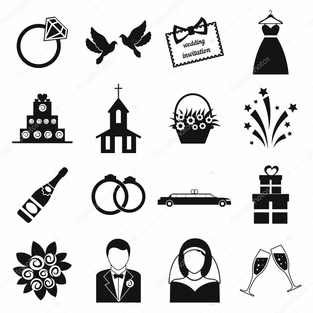 Hochzeit Symbole gesetzt — Stockvektor © juliarstudio #90885574