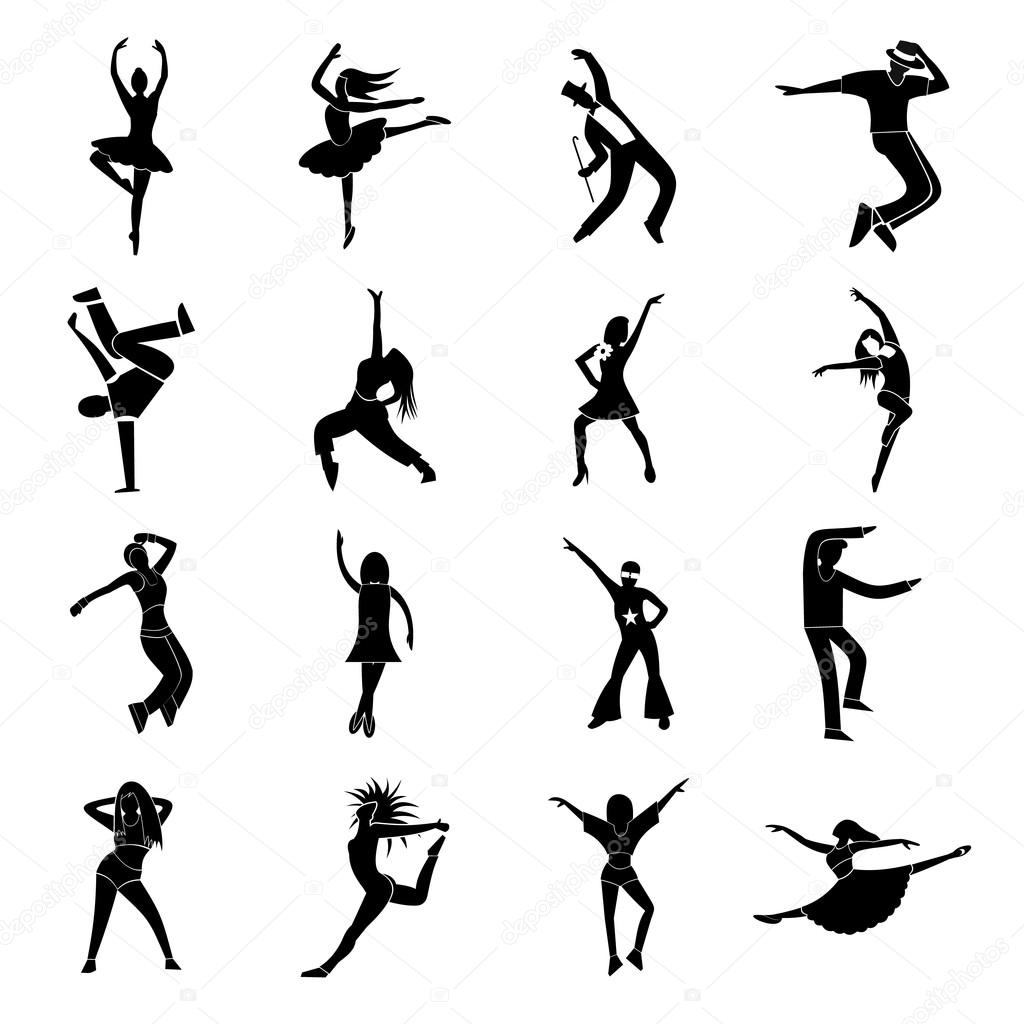 Dances simple icons set