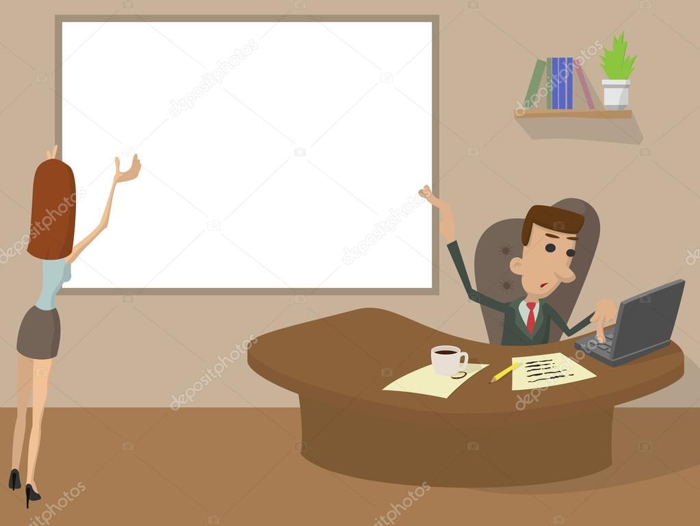 Concepto de dibujos animados de oficina trabajo vector for Concepto de oficina