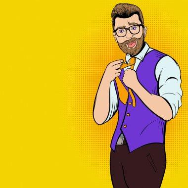 Young hipster man comics character