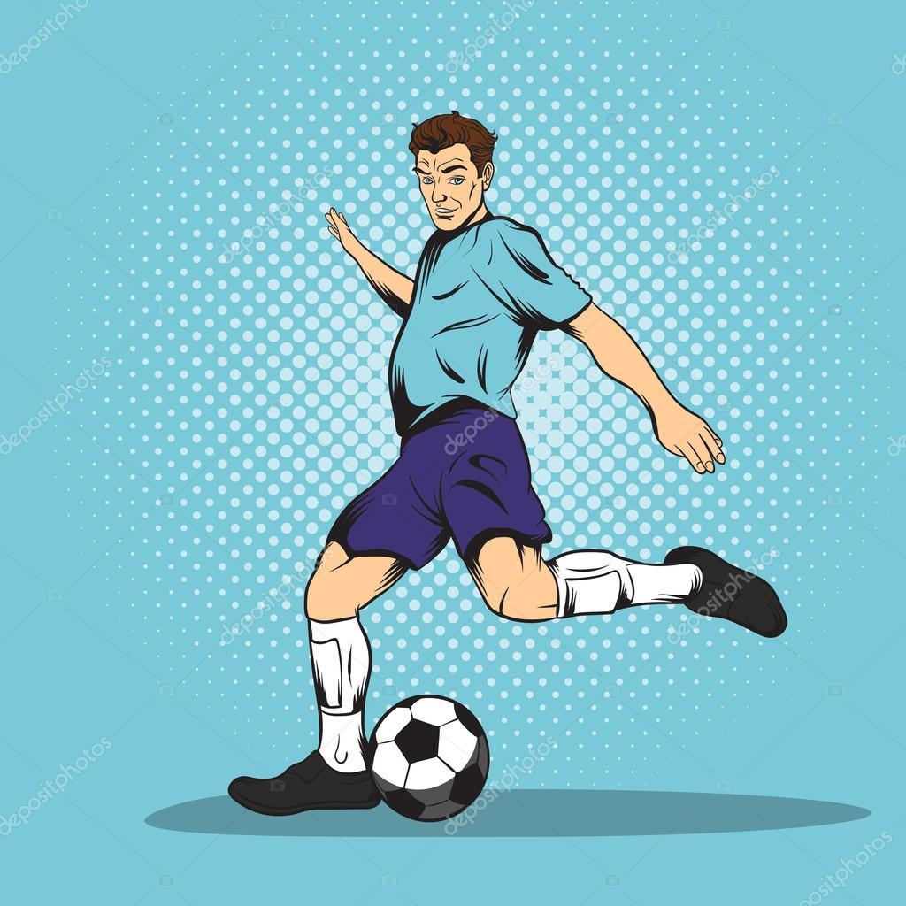 Fussballspieler Comic Stil Stockvektor C Juliarstudio 92297934