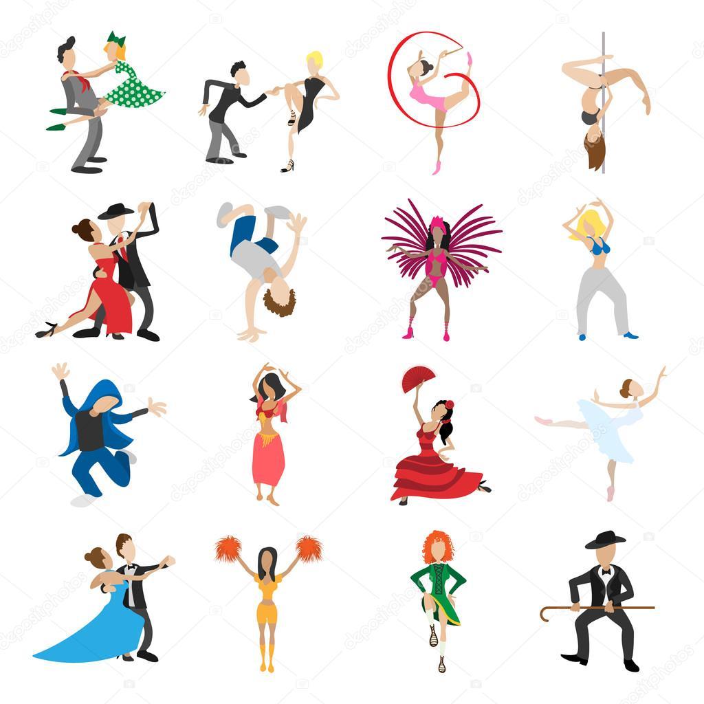 Conjunto De Iconos De Dibujos Animados De Bailes Archivo
