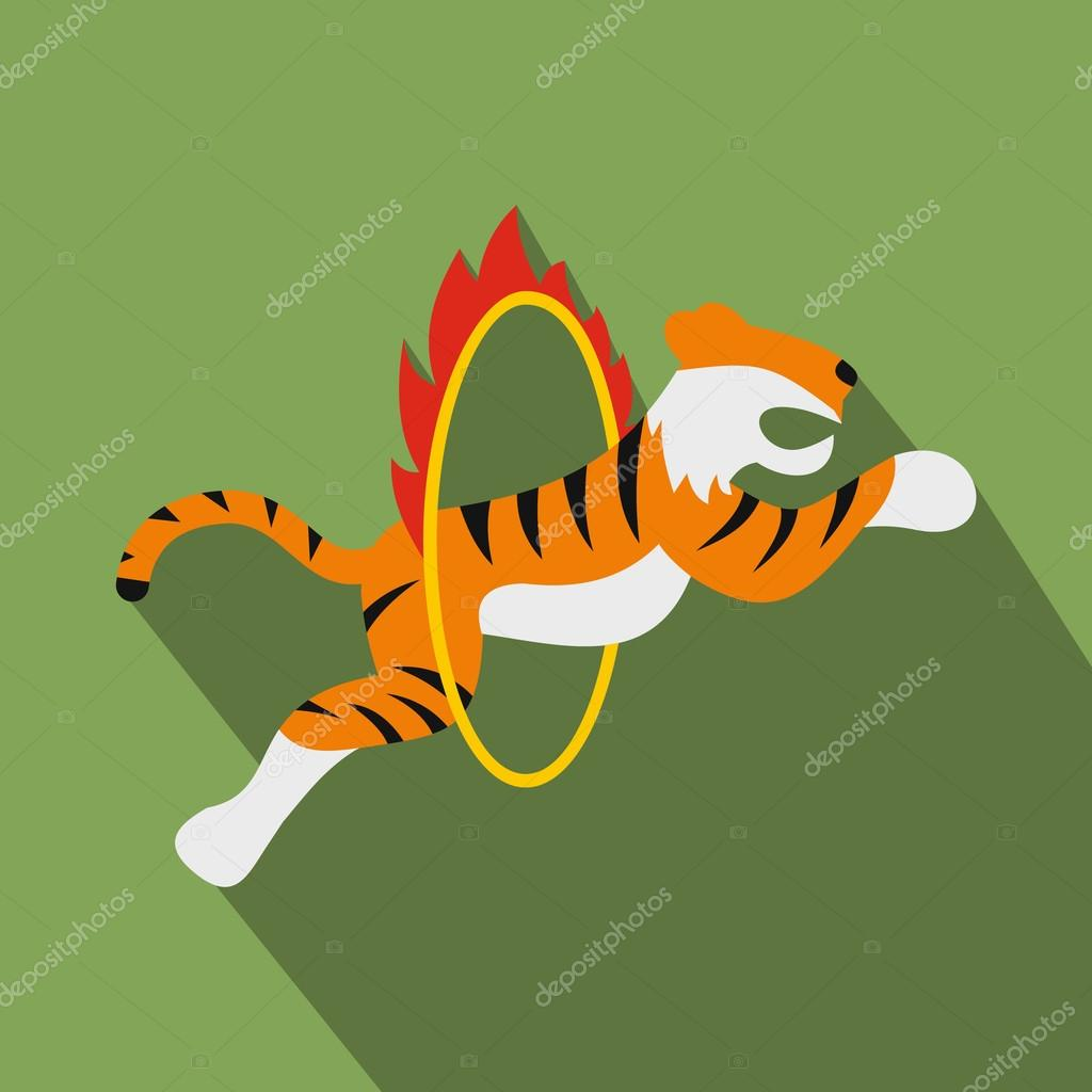 Tiger in flaming hoop illustration