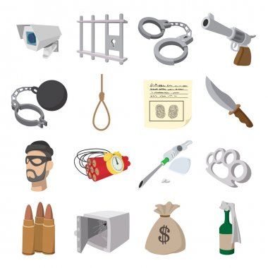 Crime cartoon icons