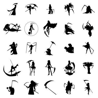 Grim reaper woman silhouettes set