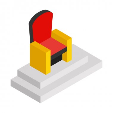 Red throne isometric 3d icon