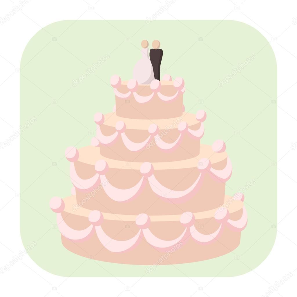 Hochzeitstorte Cartoon Symbol Stockvektor C Juliarstudio 94534760