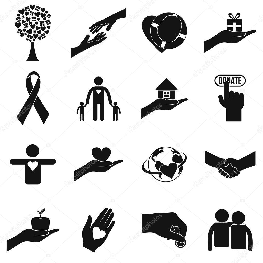 Nächstenliebe schwarz einfache Symbole — Stockvektor © juliarstudio ...
