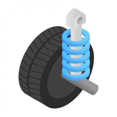Wheel tire and shock absorber isometric 3d icon