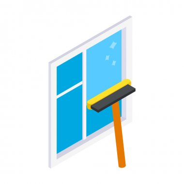 Cleaning mop window isometric 3d icon
