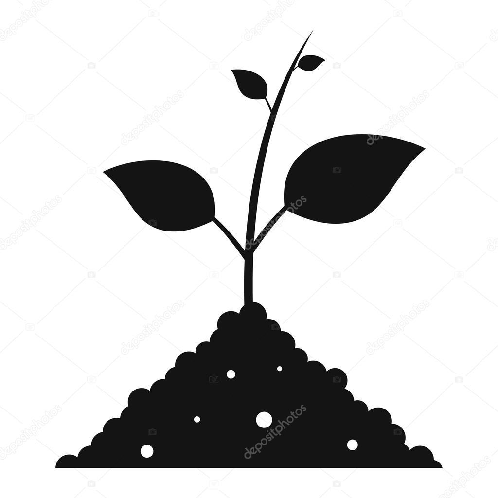 Im einfachen Symbol schwarzen Boden sprießen — Stockvektor ...