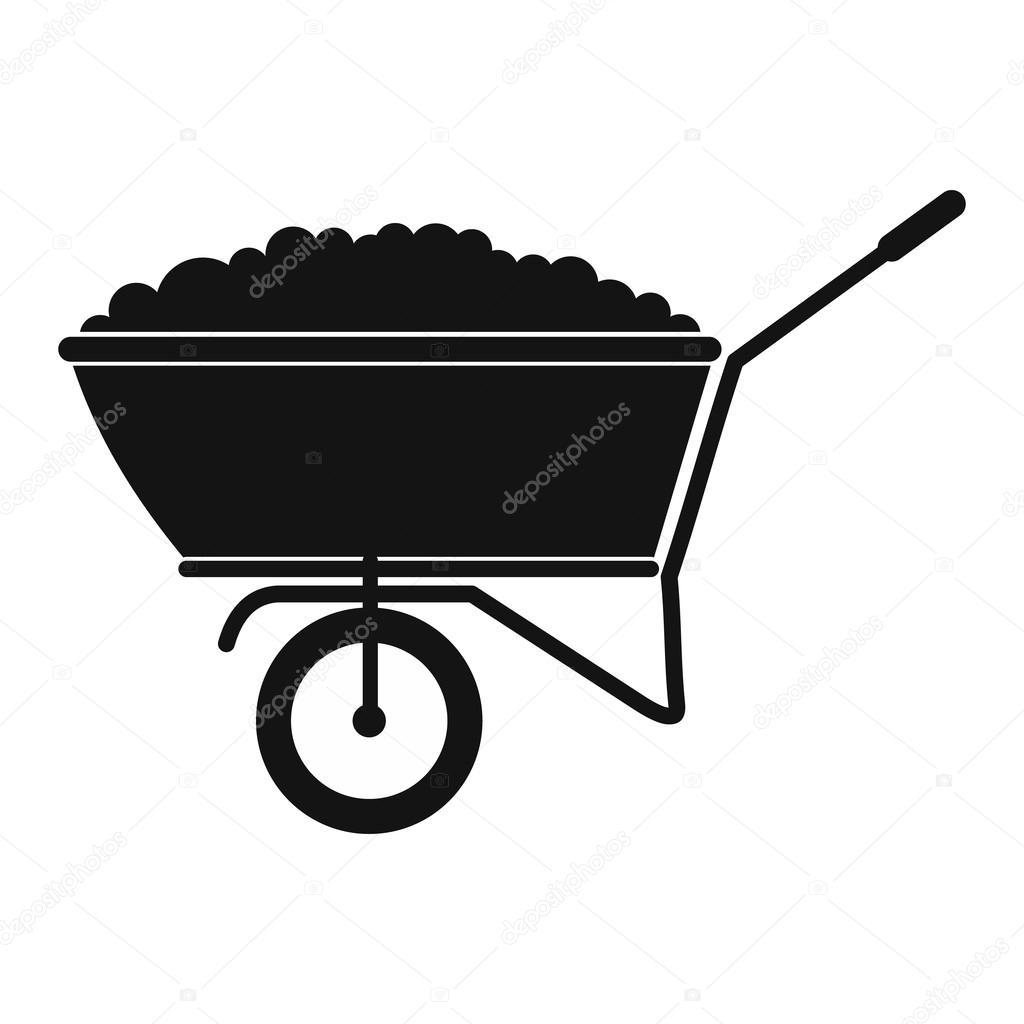 A wheelbarrow full of turf black simple icon