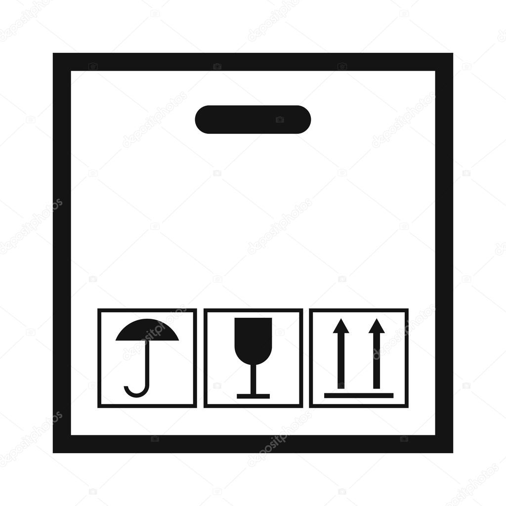 Cardboard with black fragile symbol stock vector juliarstudio cardboard with black fragile black simple icon on a white background vector by juliarstudio buycottarizona Gallery
