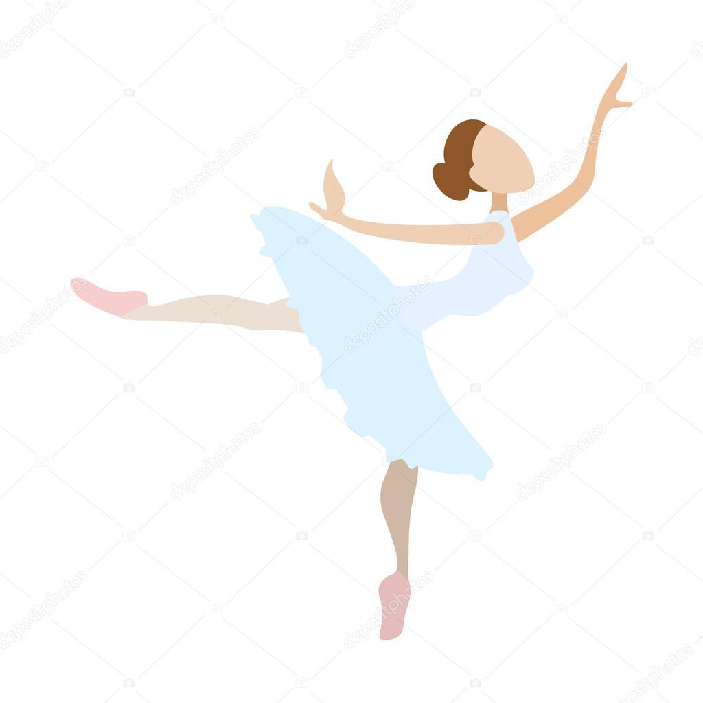 Ícone de desenho animado dança bailarina menina vetor de stock