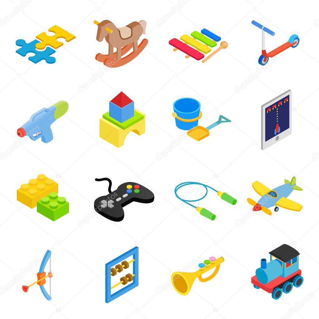 Toys isometric 3d icons set