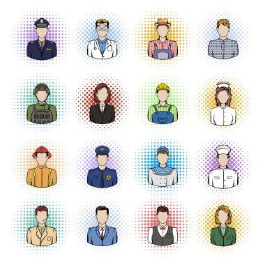 Profession comics icons set