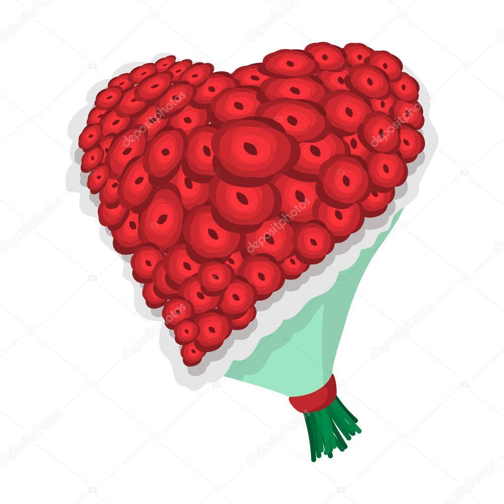 Icone De Dessin Anime Coeur Rose Fleurs Image Vectorielle