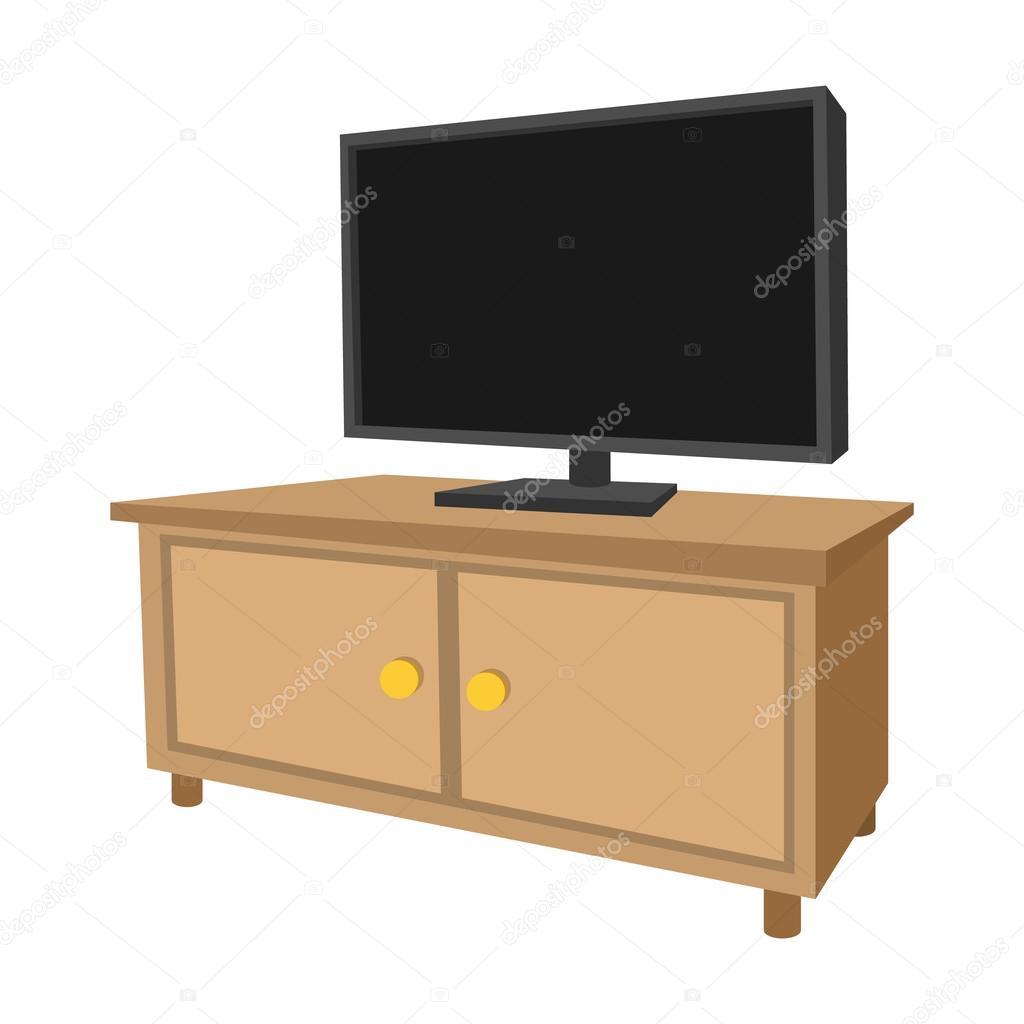 Tr tv sk p med en stor tv tecknad ikon stock vektor for Mueble animado
