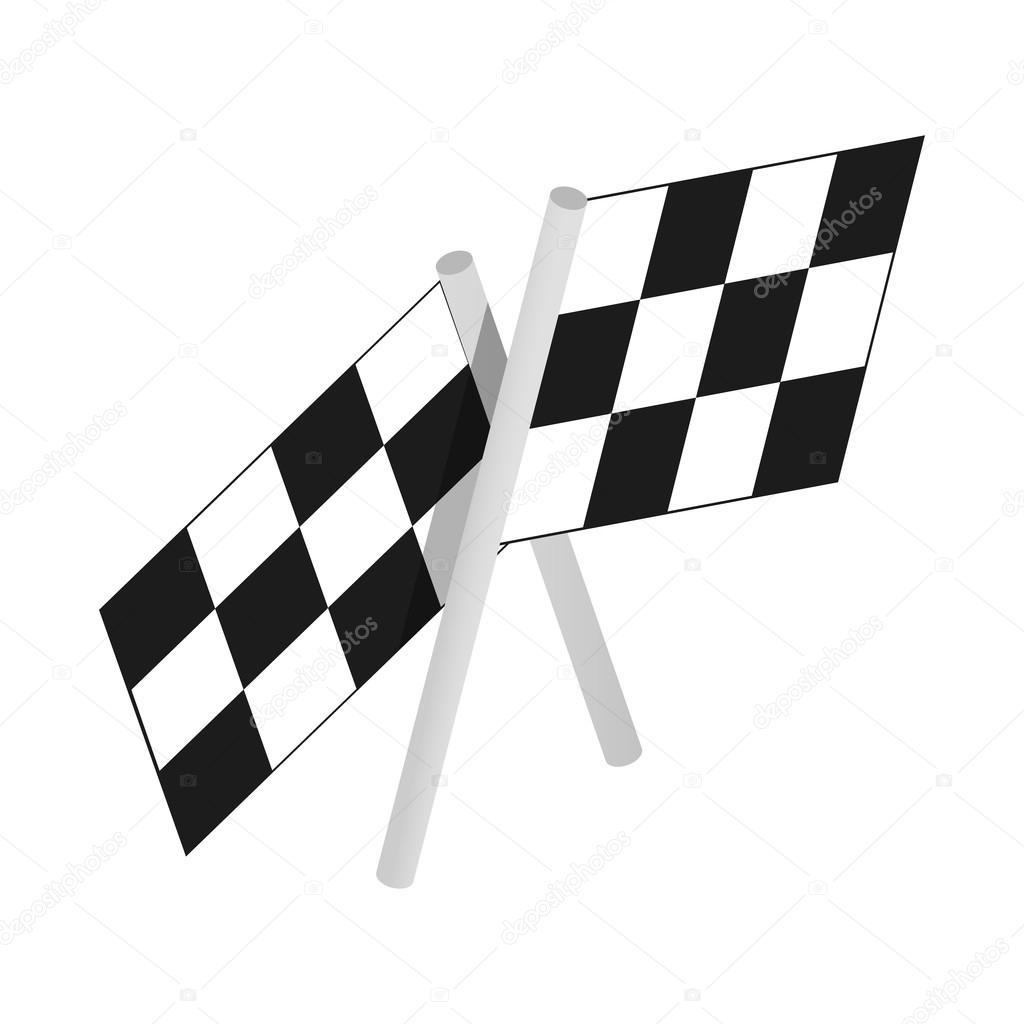 Damalı Bayrak Motor Yarışları Izometrik 3d Simgesi Stok Vektör