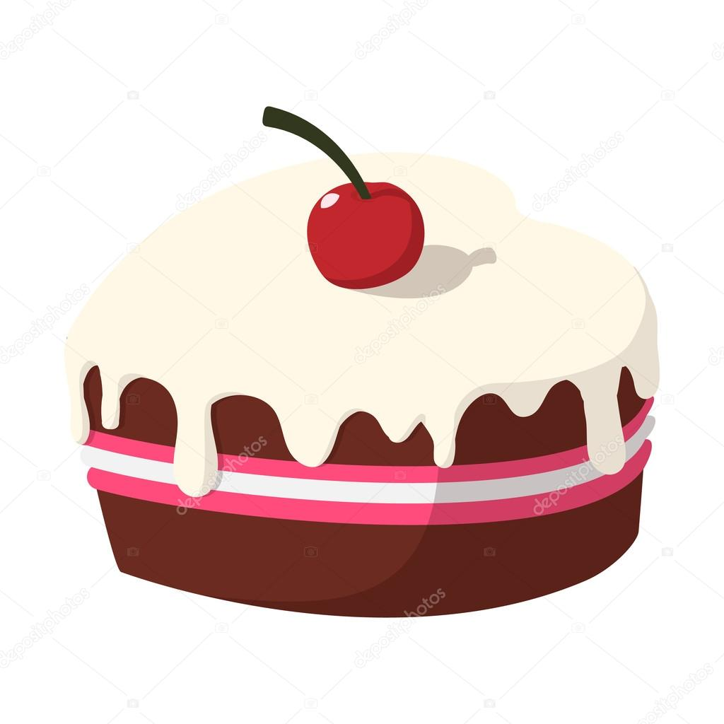 Bolo De Chocolate Com ícone De Cereja Dos Desenhos Animados