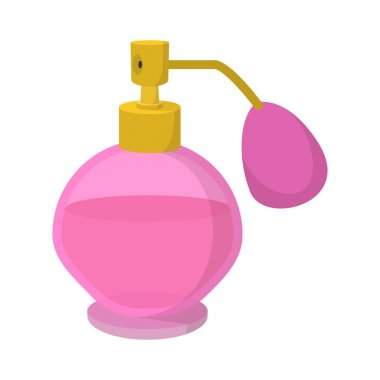 Pink bottle of perfume spraying cartoon icon