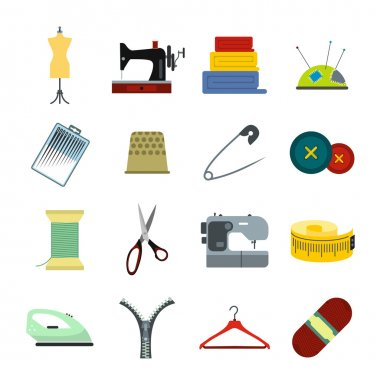 Sewing flat icon for web and mobile devices clip art vector