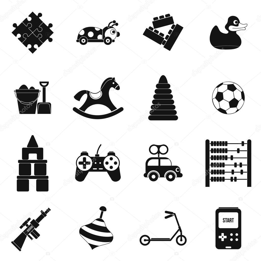 Einfache Symbole Satz Spielzeug schwarz — Stockvektor © juliarstudio ...