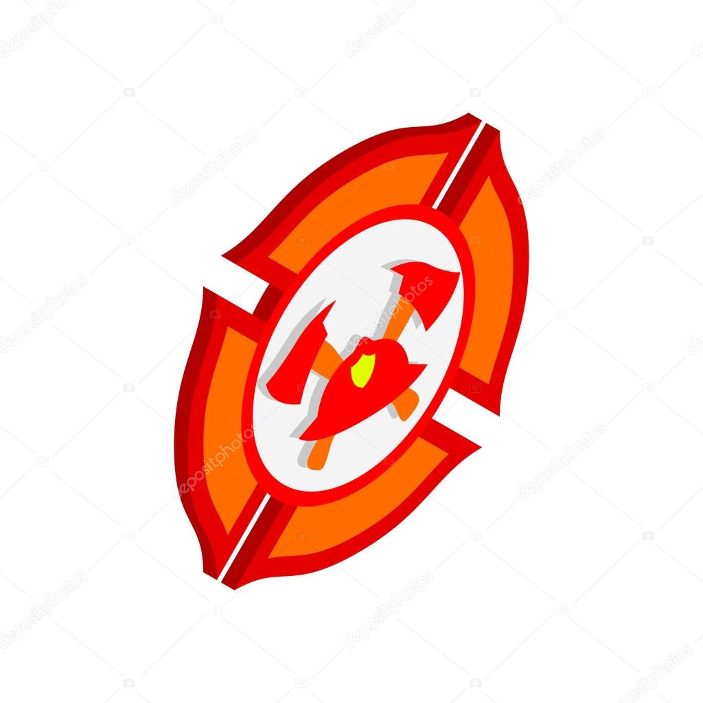 Fire department or firefighter isometric 3d icon