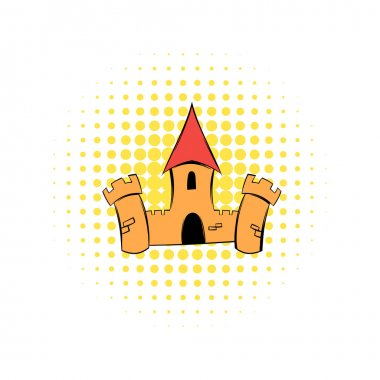 Medieval castle fortress comics icon