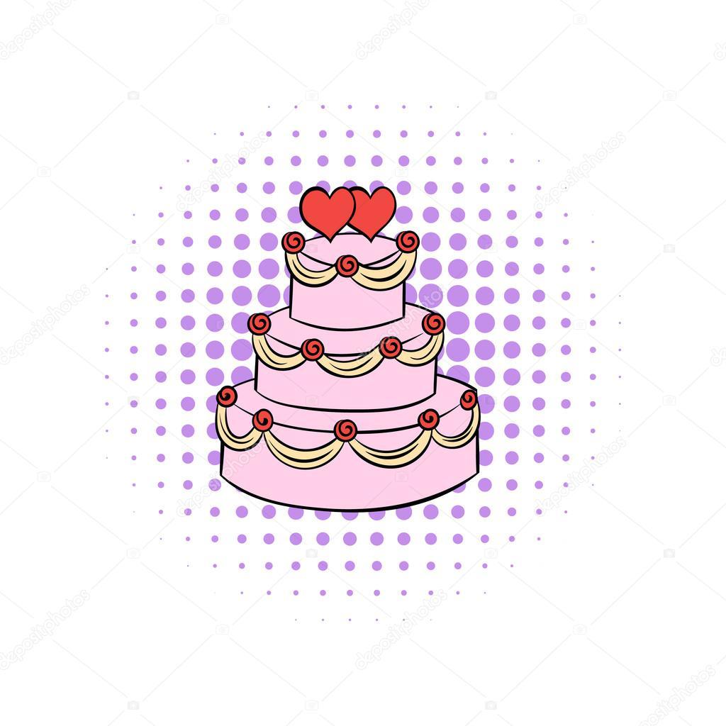 Hochzeitstorte Comic Symbol Stockvektor C Juliarstudio 97660850
