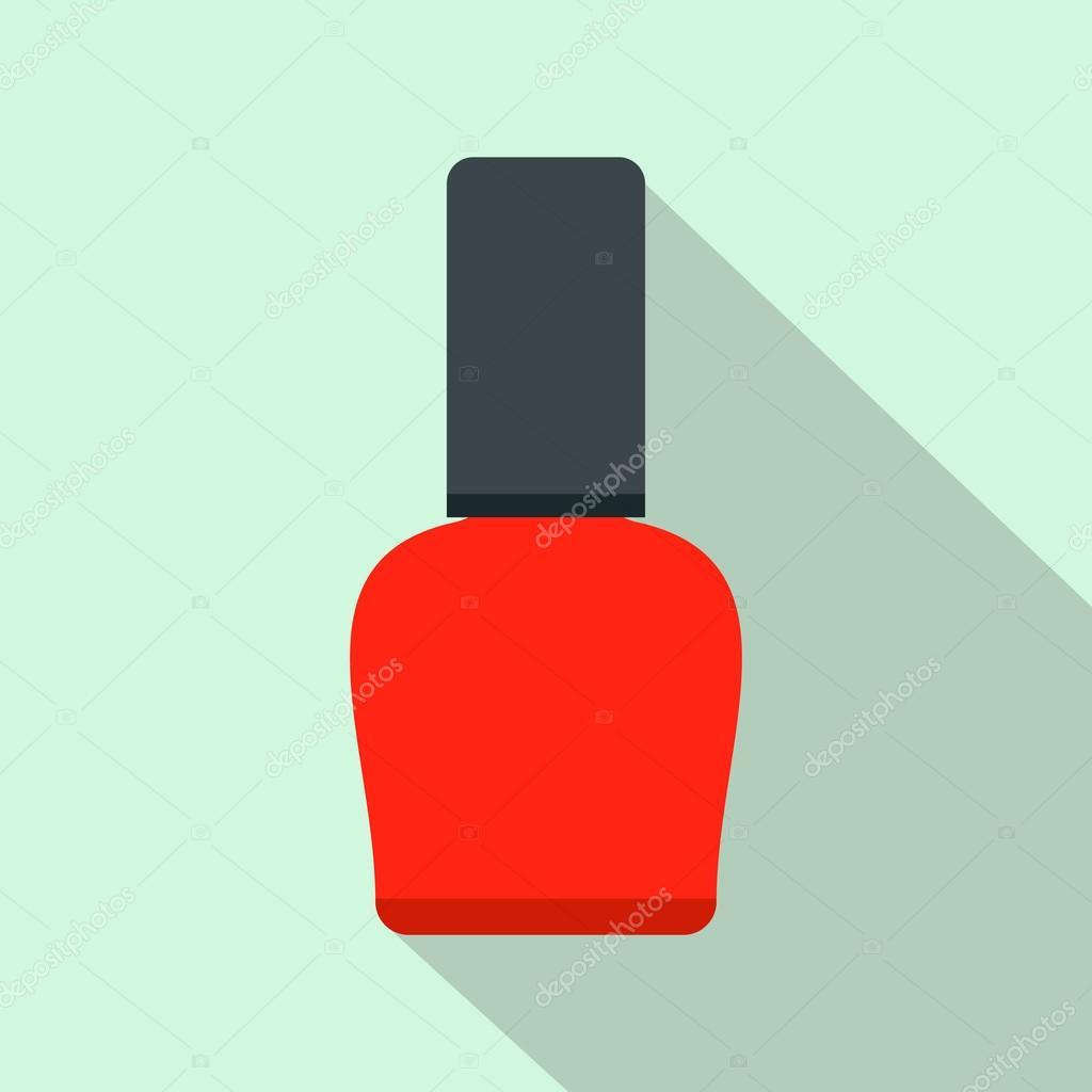 Esmalte de uñas rojo botella plana icono — Vector de stock ...