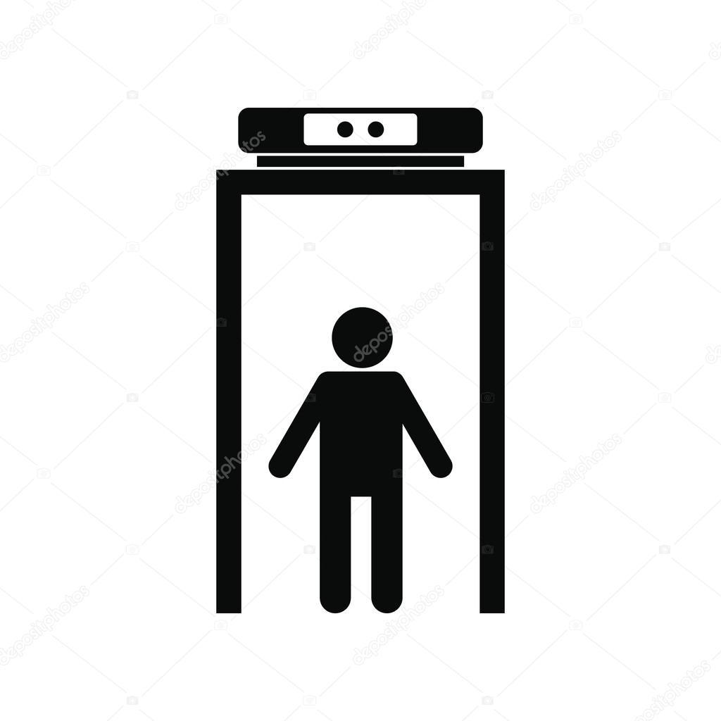 icono simple detector de metal negro  u2014 vector de stock