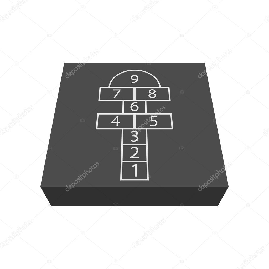 Magnifique Icône de dessin animé jeu de marelle — Image vectorielle &WF_49