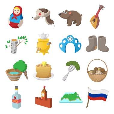 Russia cartoon icons