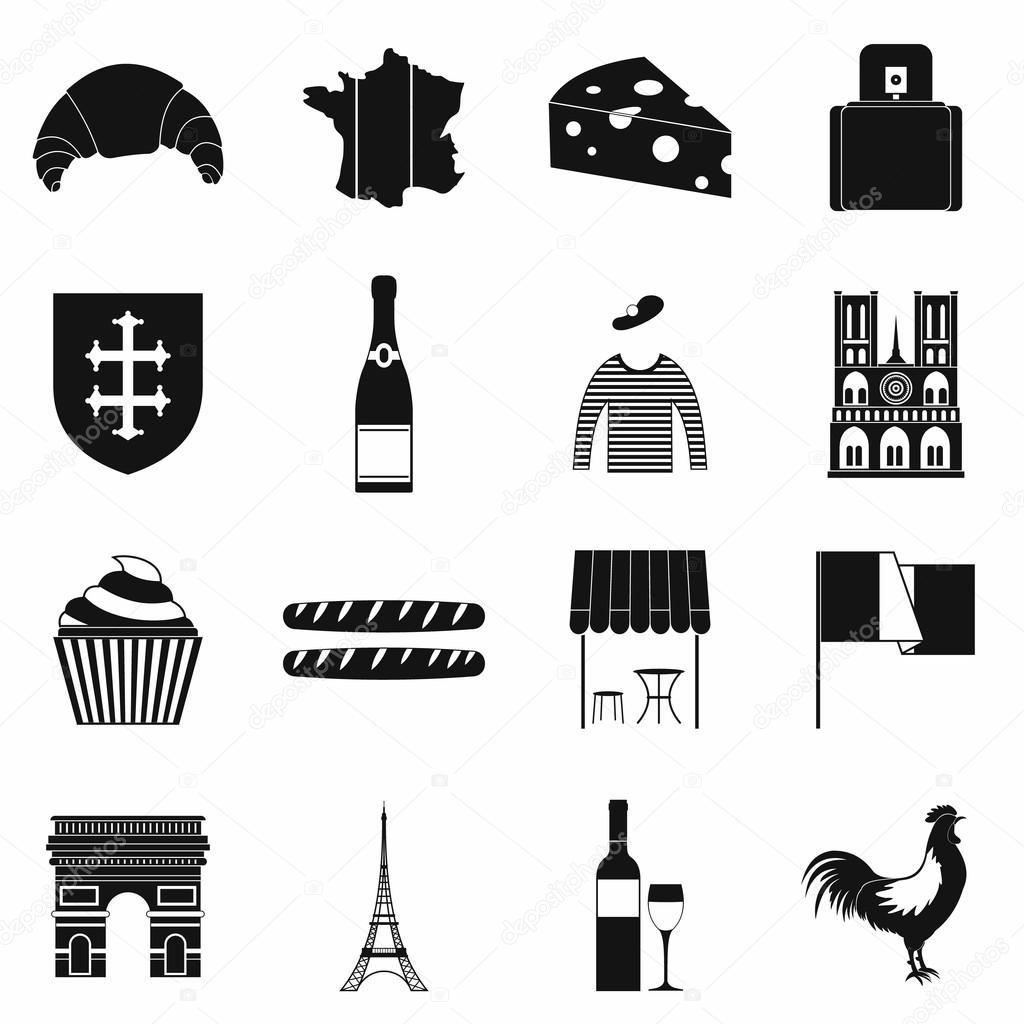 Einfache Symbole Frankreich schwarz — Stockvektor © juliarstudio ...