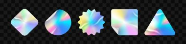Holographic stickers. Hologram labels of different shapes. Sticker shapes for design mockups. Holographic textured stickers for preview tags, labels. Vector illustration icon